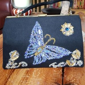Vintage Hand Crafted Beaded Butterfly Purse